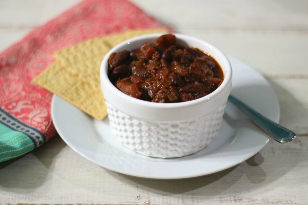 Hearty Burgundy and Chocolate Chili  - A hearty, smoky, rich, bold chili with a hint of deep spice with notes of plums and berries.