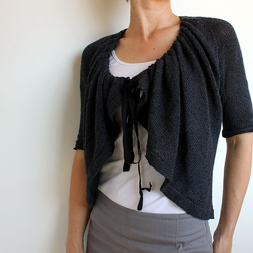 Ravelry: Kyuu pattern by Kirsten Johnstone is a lightweight cardigan that can be worn in several different ways. Pattern recommends using Habu Textiles Bamboo and Silk Wrapped Stainless Steel yarns held together.