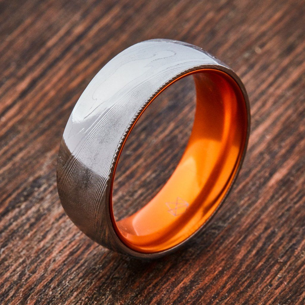 Wood Grain Damascus Steel Ring Resilient Orange in 2020