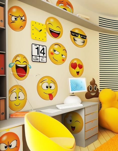 Large Emoji Faces Wall Decal Sticker #6052 | Hotel style | Pinterest ...
