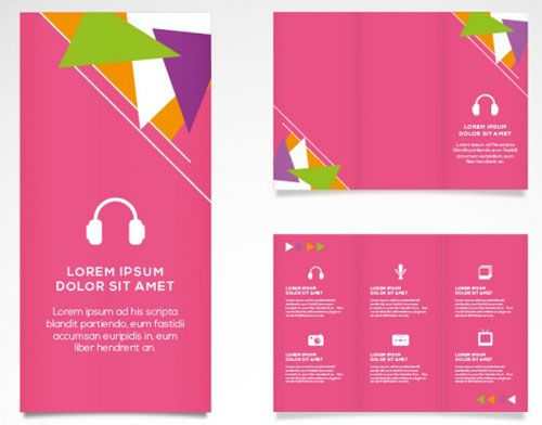 Pink Music Brochure Vector Template  Free Vector Art