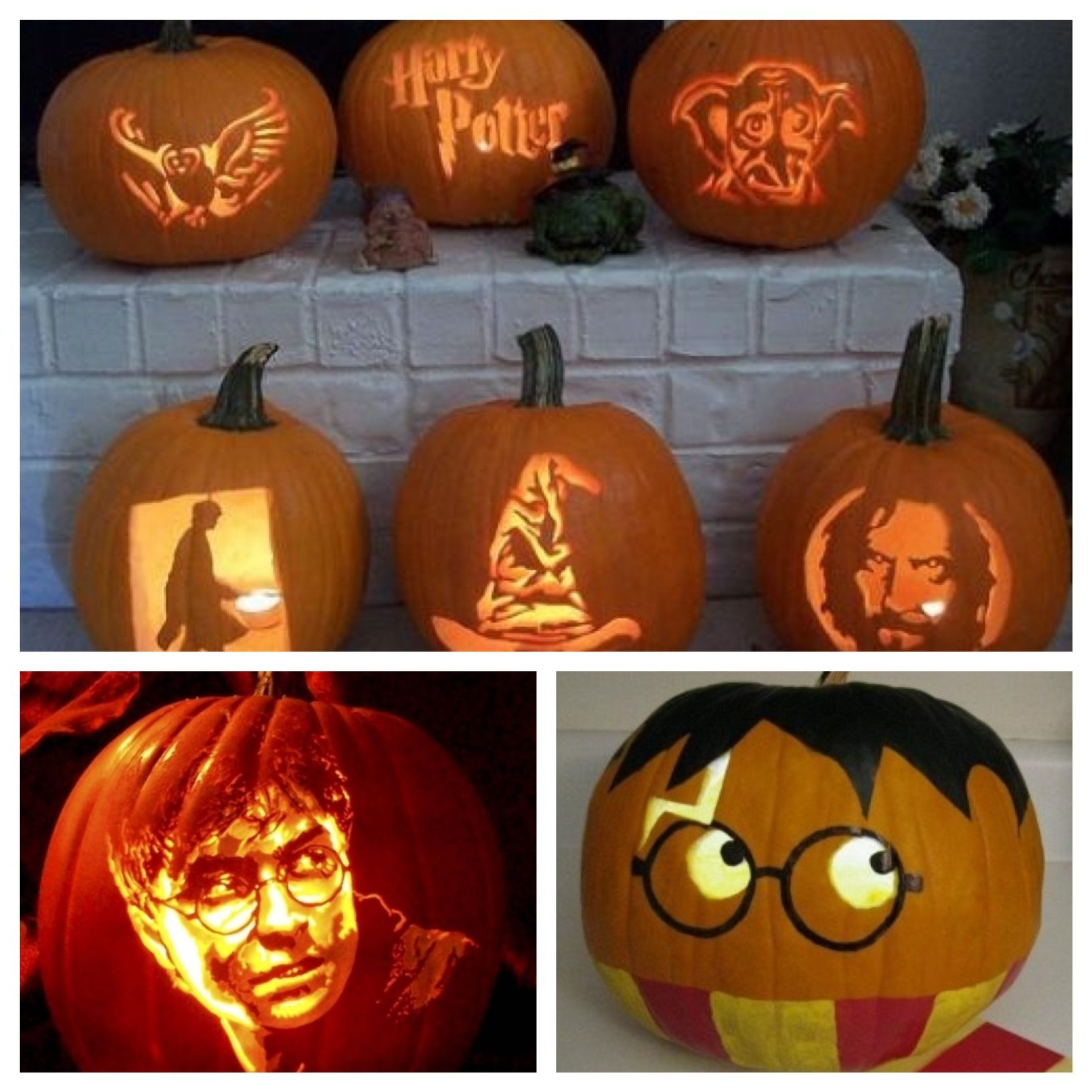 Love these Harry Potter pumpkins the sorting hat is my