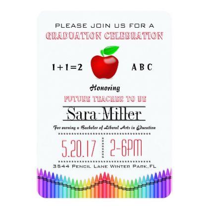 Teacher red apple teacher graduation invitation teachers teacher red apple teacher graduation invitation filmwisefo