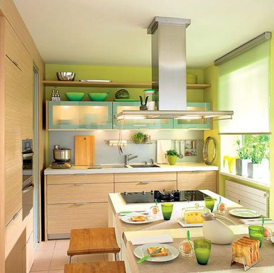 small kitchen accessories | green paint and kitchen accessories
