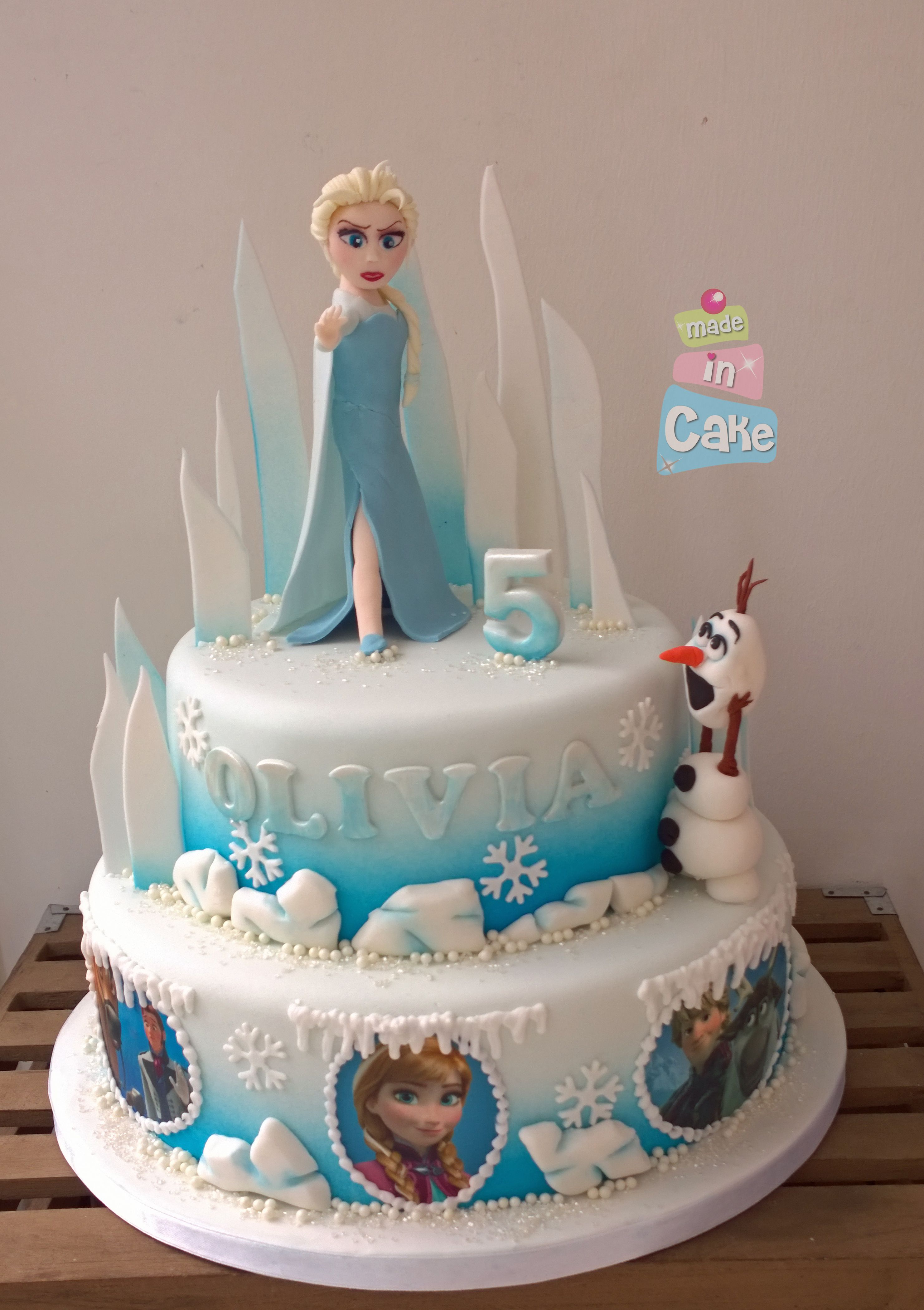 Frozen 2 Tier Cake Olaf And Mean Elsa With Images Tiered