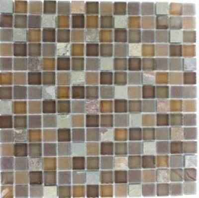 12 X 12 Autumn 3 4 Squares Multi Colored Slate Brown Polished Frost Splashback Tiles Glass Tile Mosaic Flooring