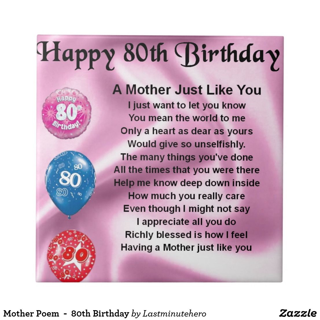 Mother Poem 80th Birthday Small Square Tile Moms Birthday