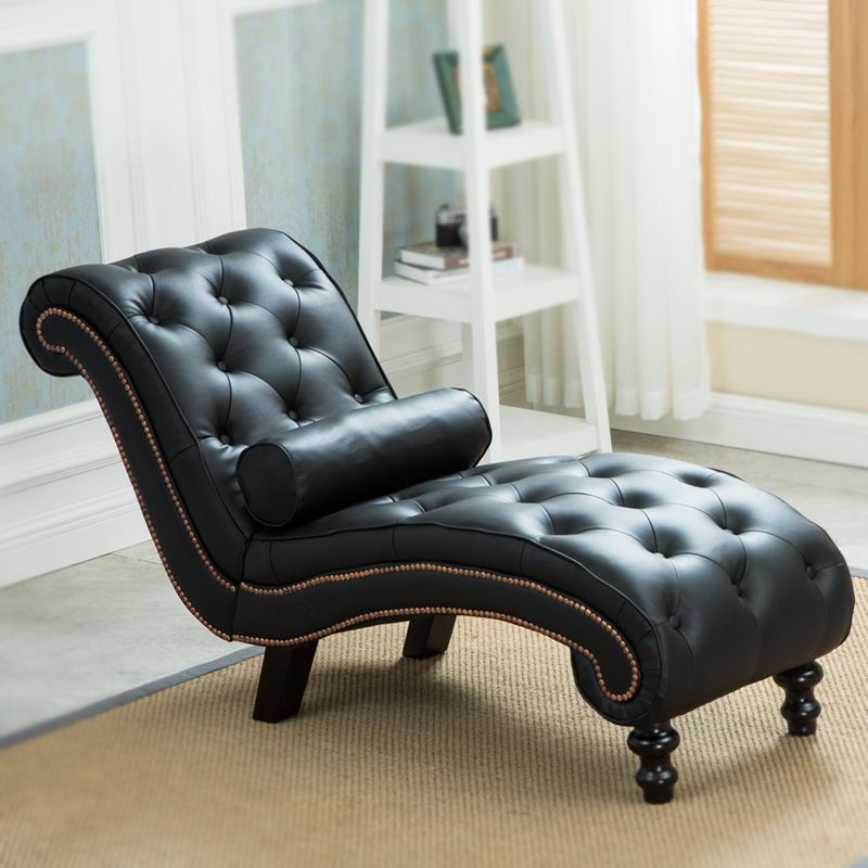 Superbe Classic Leather Chaise Lounge Sofa With Pillow Living Room Furniture Modern  Lazy Lounger Chair For Bedroom Sleep Lounge Wood Leg