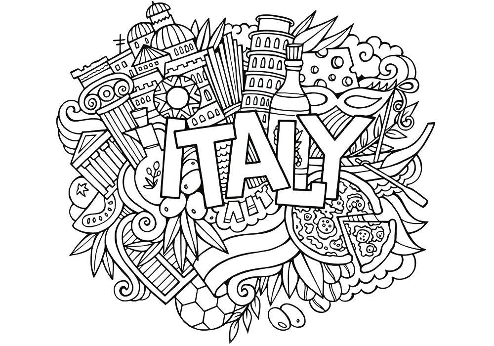 Раскраска антистресс -Италия. Скачать антистресс ...