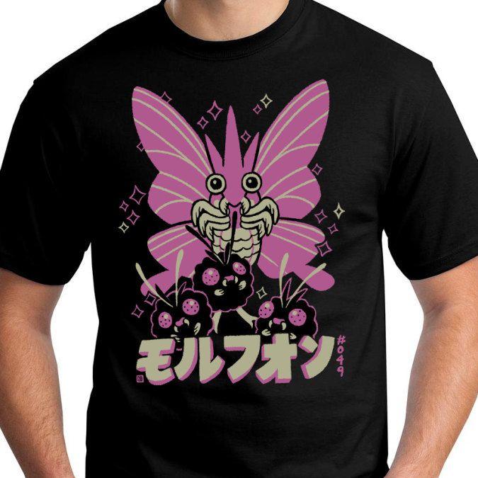 VENOMOTH Pokemon T-Shirt Venonat Morphon by InksterInc on Etsy https://www