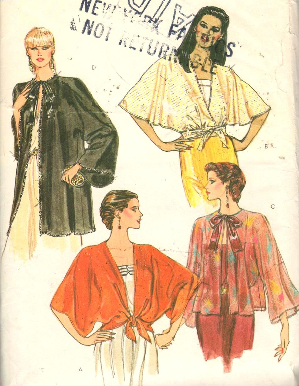 FAB set of dolman sleeve coverups/jacket, Vintage Vogue 8178. View A makes a great summer cover up, nice and cool with the wide sleeves!  https://www.etsy.com/listing/234348997/vogue-8178-sz-12-14medbust-34-36-vintage