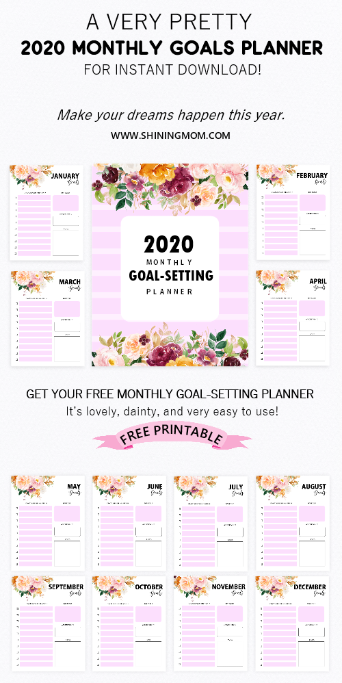 Free Printable 2020 Monthly Goals Planner Goals Planner Free