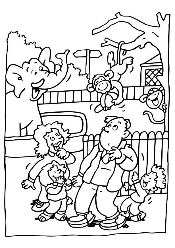 Zoo Coloring Pages For Preschoolers | Coloring page visiting the zoo ...