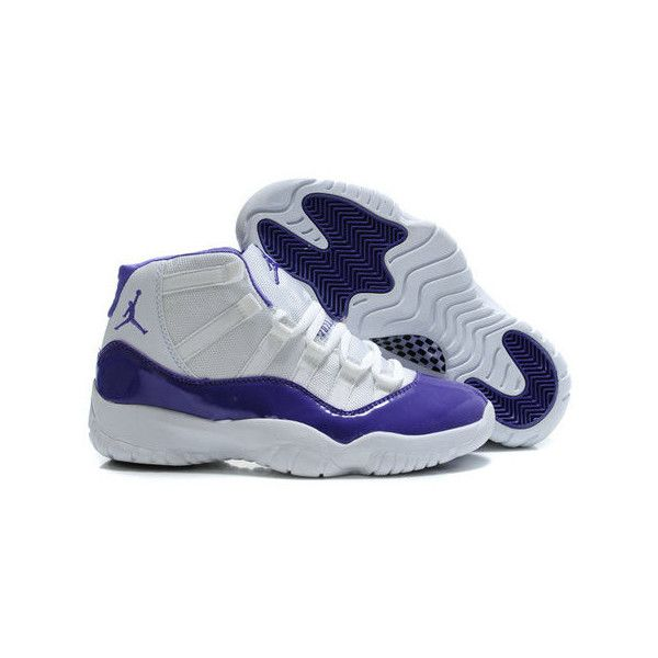 Womens Nike Air Jordan 11 White Purple ($115) ❤ liked on Polyvore featuring  shoes