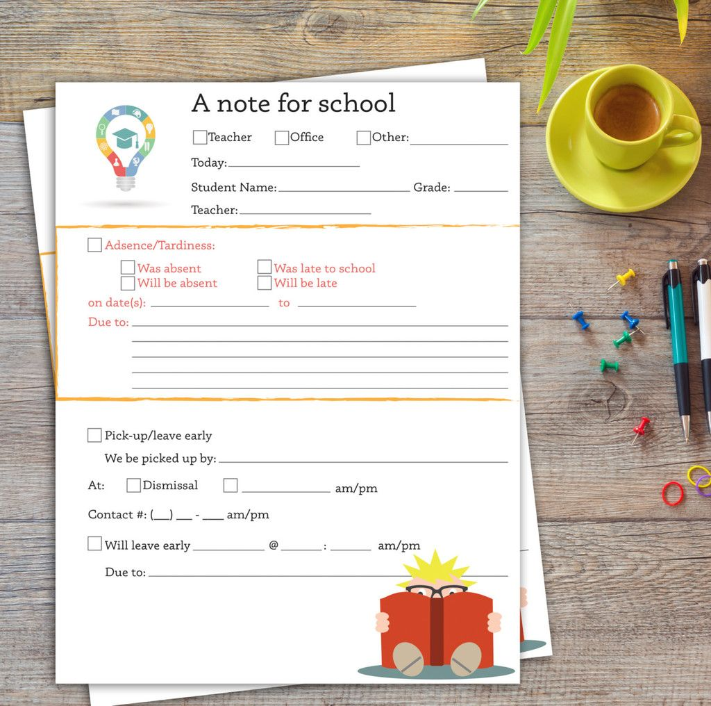 A Note For School  Early Dismissal Letter  Absence Letter