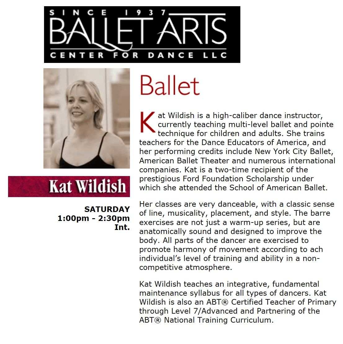 Ballet arts every saturday at 1pm see you at the barre