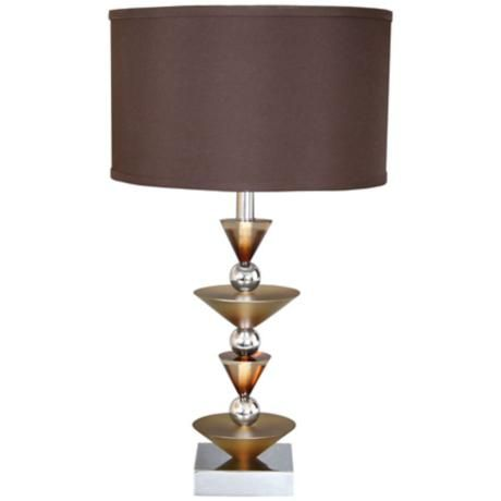 Van Teal Simple Run Wheat Ginger And Chrome Table Lamp 2h486 Lamps Plus Chrome Table Lamp Metal Table Lamps Table Lamp