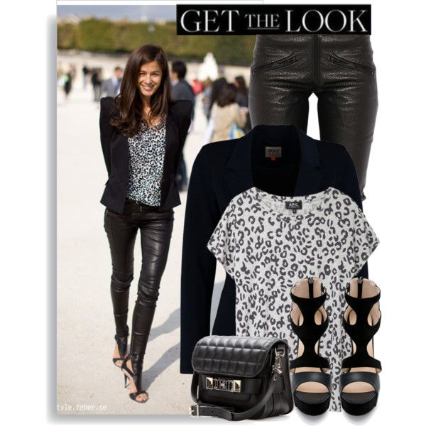"""Leather jeans and leo print - get the look"" by anne-mclayne on Polyvore"