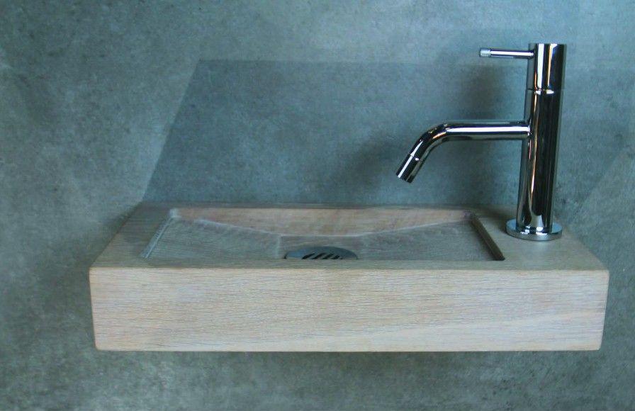 Luca wood lelie fontein 40x19cm hout kraangat rechts badkamerxxl
