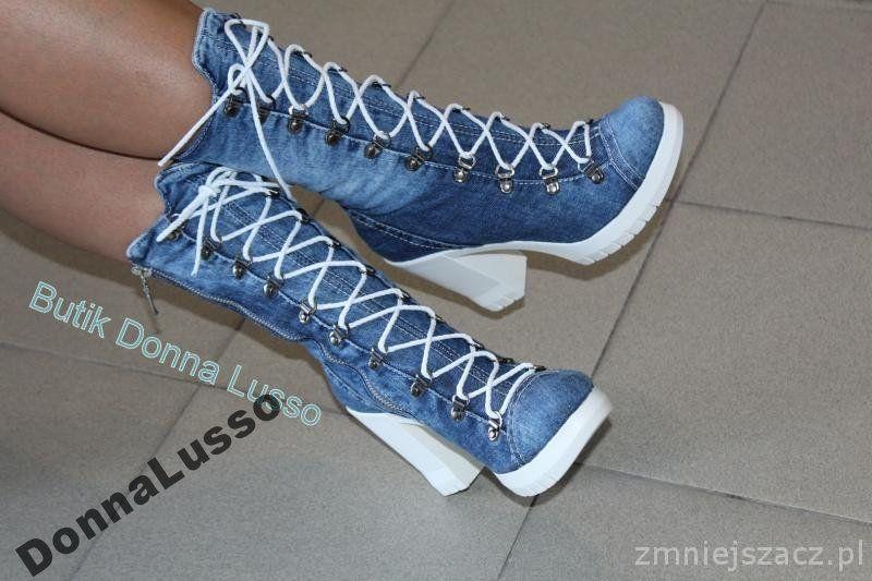 Luksusowe Kozaczki Jeansowe 36 40 Jesien 2016 6439004447 Oficjalne Archiwum Allegro High Top Sneakers Shoes Sneakers