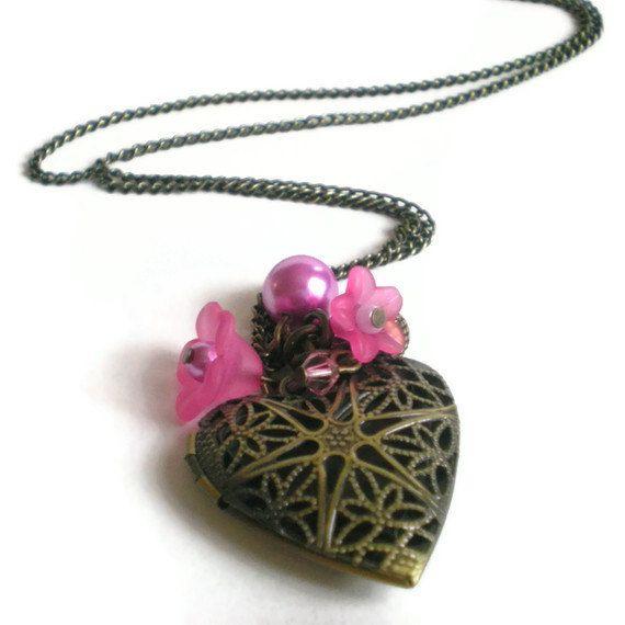 heart locket pendant necklace antique brass heart by jcudesigns, £9.50