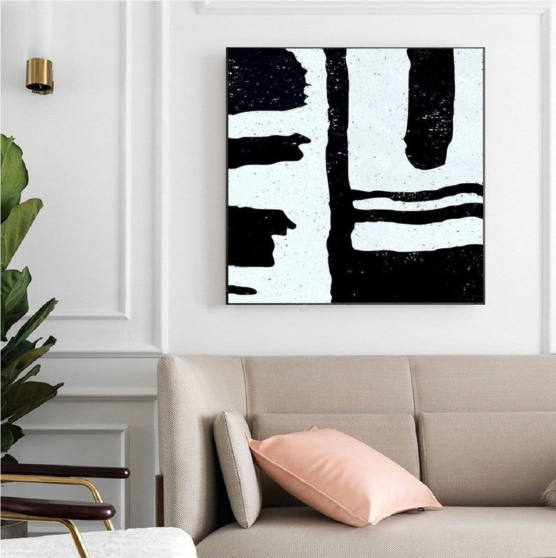 Large Minimalist Art On Canvas Original Art Large Wall Art Black And White Modern Art Modern Office Decor Painted By Alexsandr Speshilov Modern Office Decor Minimalist Art Modern Wall Art Canvas