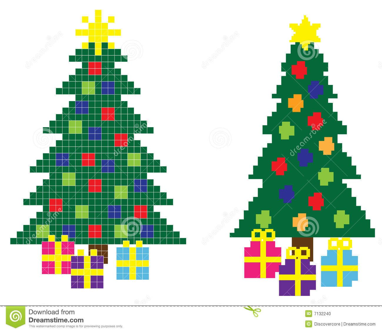 Hi-res 8-bit Christmas trees with stars and gift boxes. | Totally ...