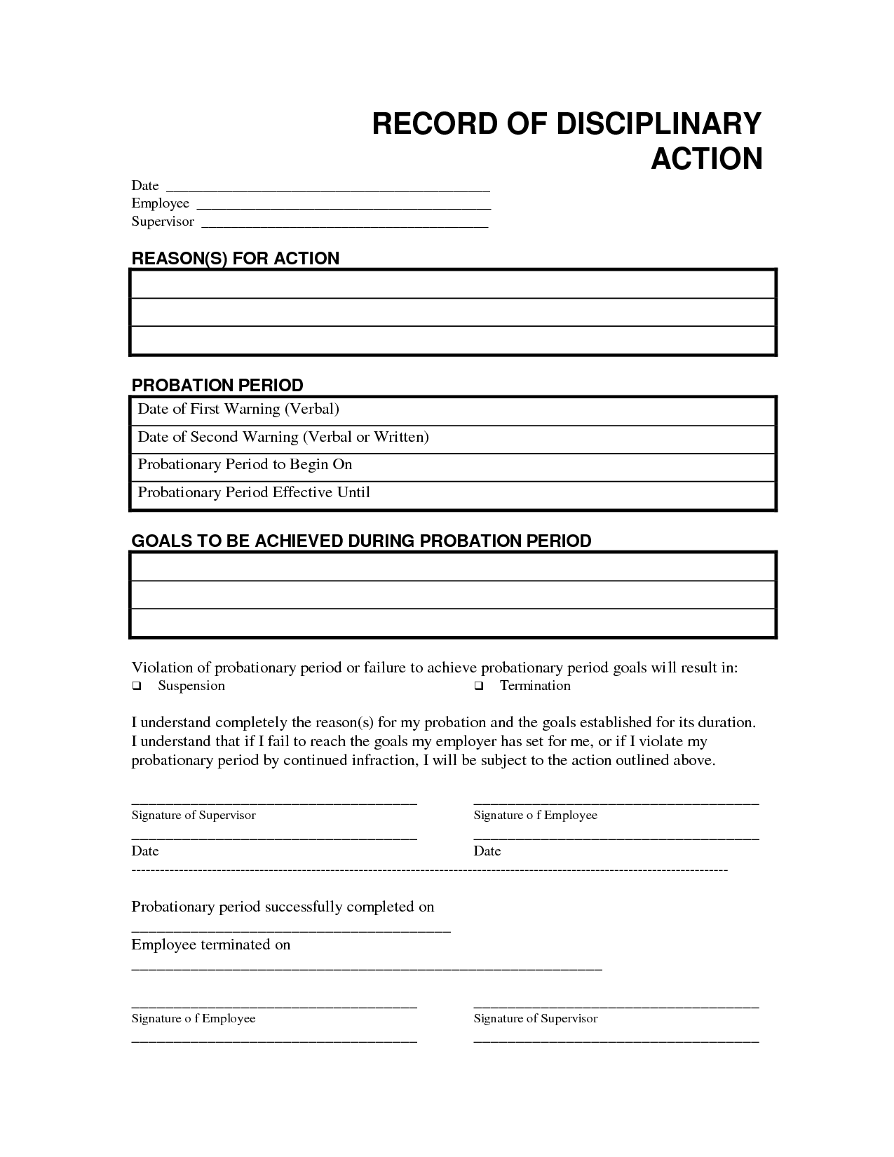 record disciplinary action free office form template by bar