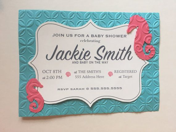 Seahorse Invitation Seahorse Baby Shower Invitation Beach