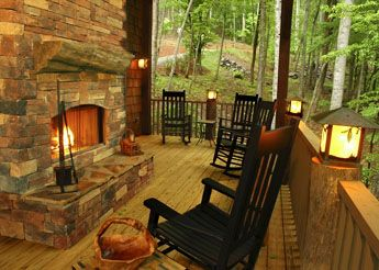 Amazing porch with fireplace