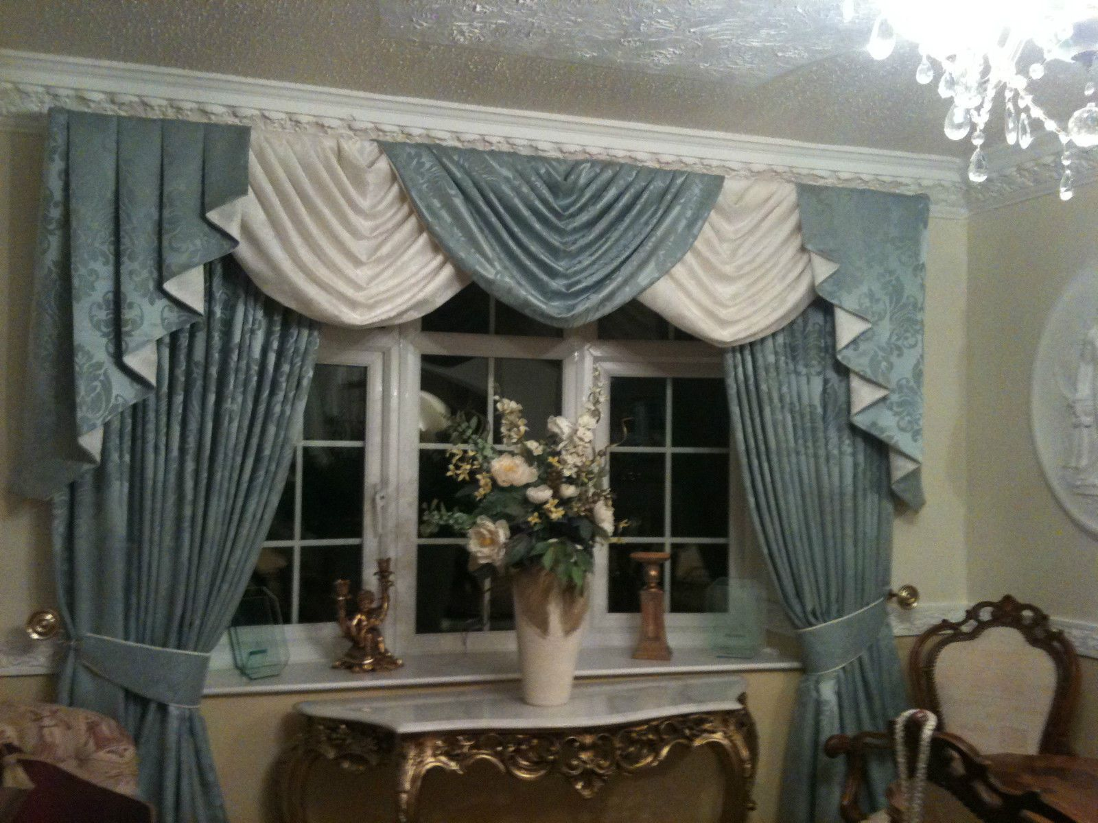Room DESIGNER CURTAINS SWAGS TAILS CREAM