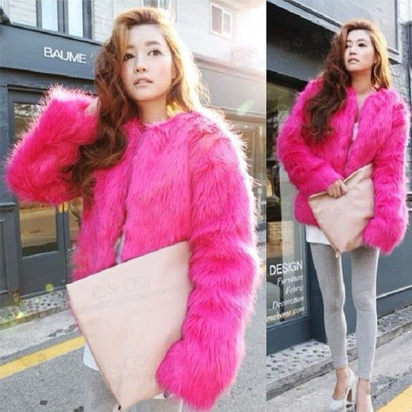 842583a4bbe Plus Size 4XL 5XL Winter Sexy Women Mink Fur Rabbit Fur Coat Ladies Pink  White Faux Fox Fur Jacket Fur Bolero Short Red Coats