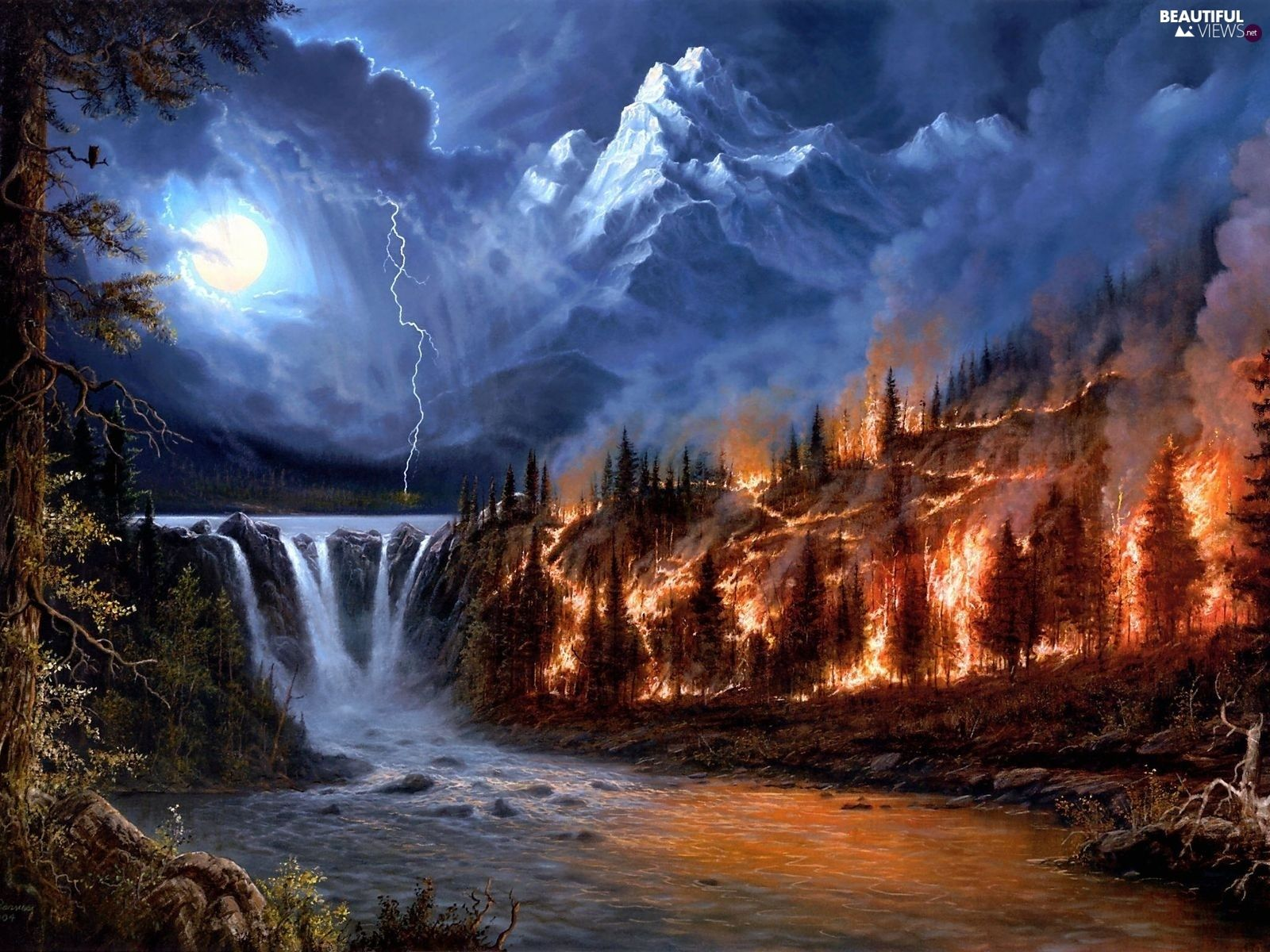 Fire Storm Night Mountains Waterfall Beautiful Views