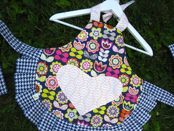 Little Girlie Apron  Houndstooth and Flowers by twirlybirdbaby, $20.00