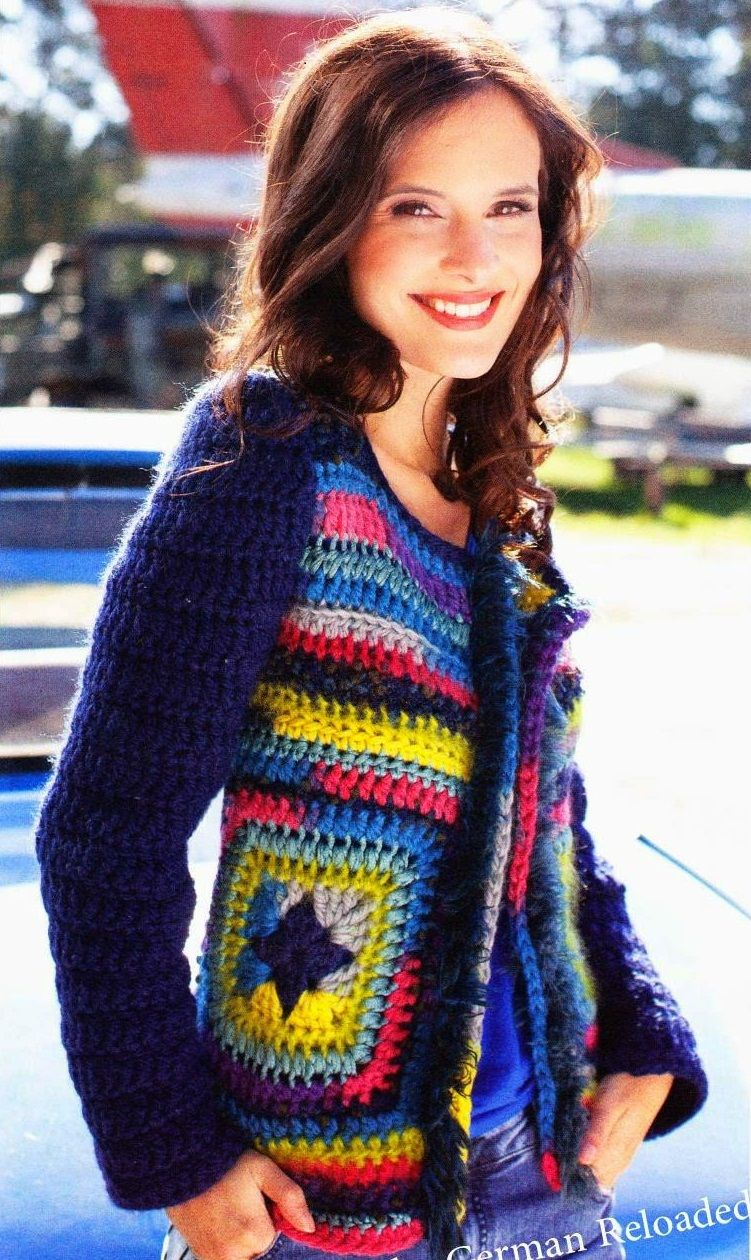 Кофта крючком. Журнал Die Kleine Diana Häkel Lust №2 2014. #crochet_cardigan