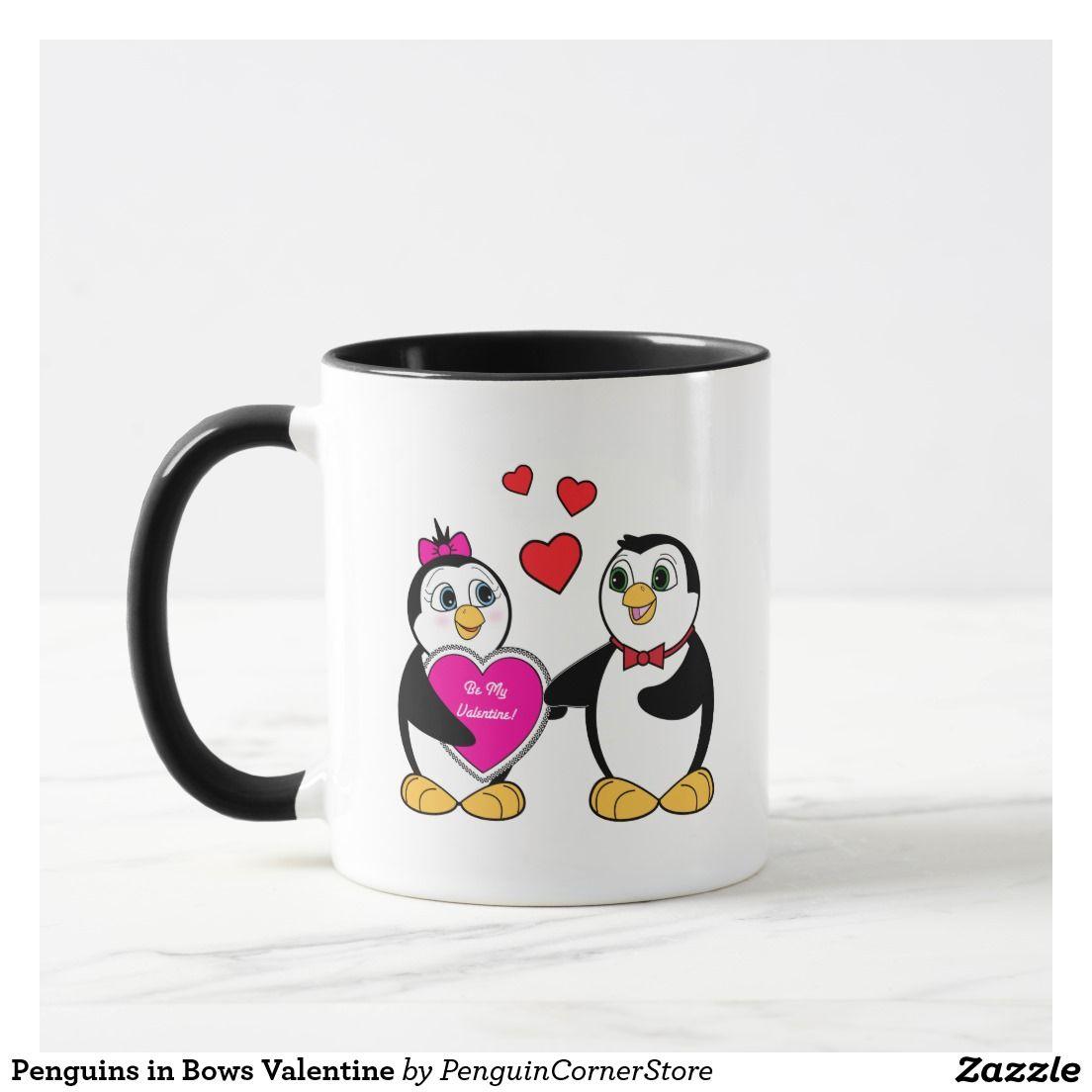 Penguins in Bows Valentine Mug
