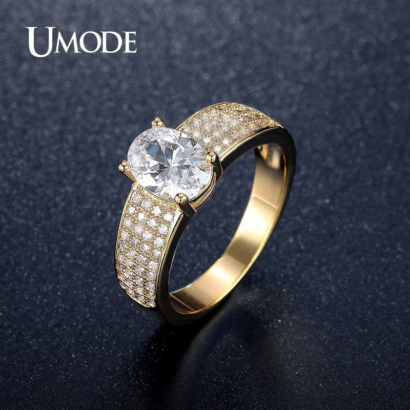 Umode Brand Women Engagement Wedding Rings Simulated Diamond Gold Plated Bands For Feminine Anelli Bijoux