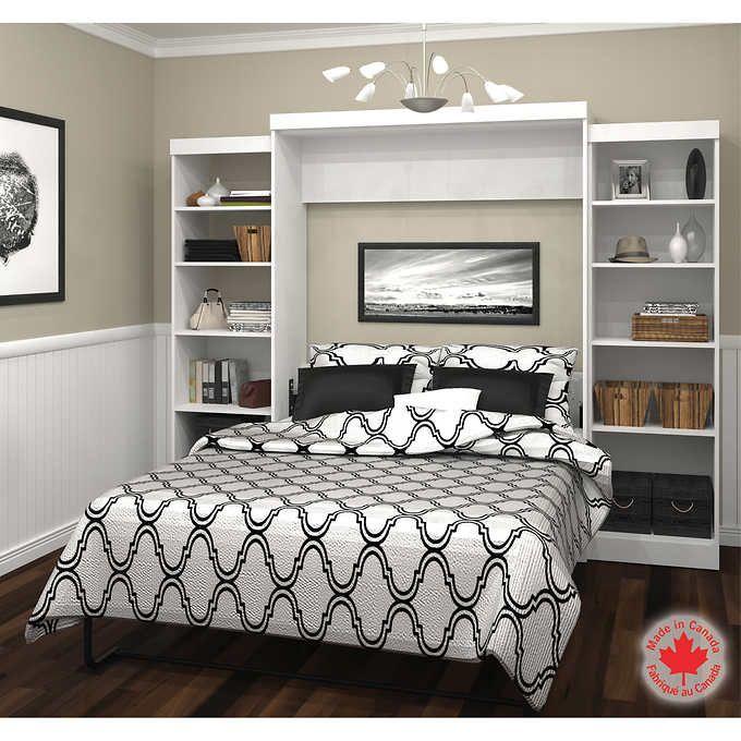 Best Bestar Boutique White Queen Wall Bed 3 Piece Set Wall 400 x 300