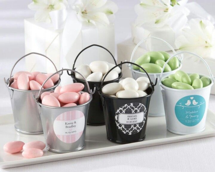 Filled With Joy Personalized Tin Pail White Black Or Silver Set Of 12