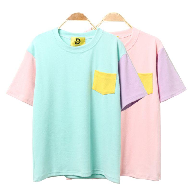 2016 Summer Style Fashion Women Harajuku Patchwork T Shirts Kawaii ...