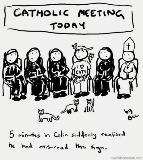 Catholic Meeting Today -- 5 minutes in Colin suddenly realised he - meeting minutes
