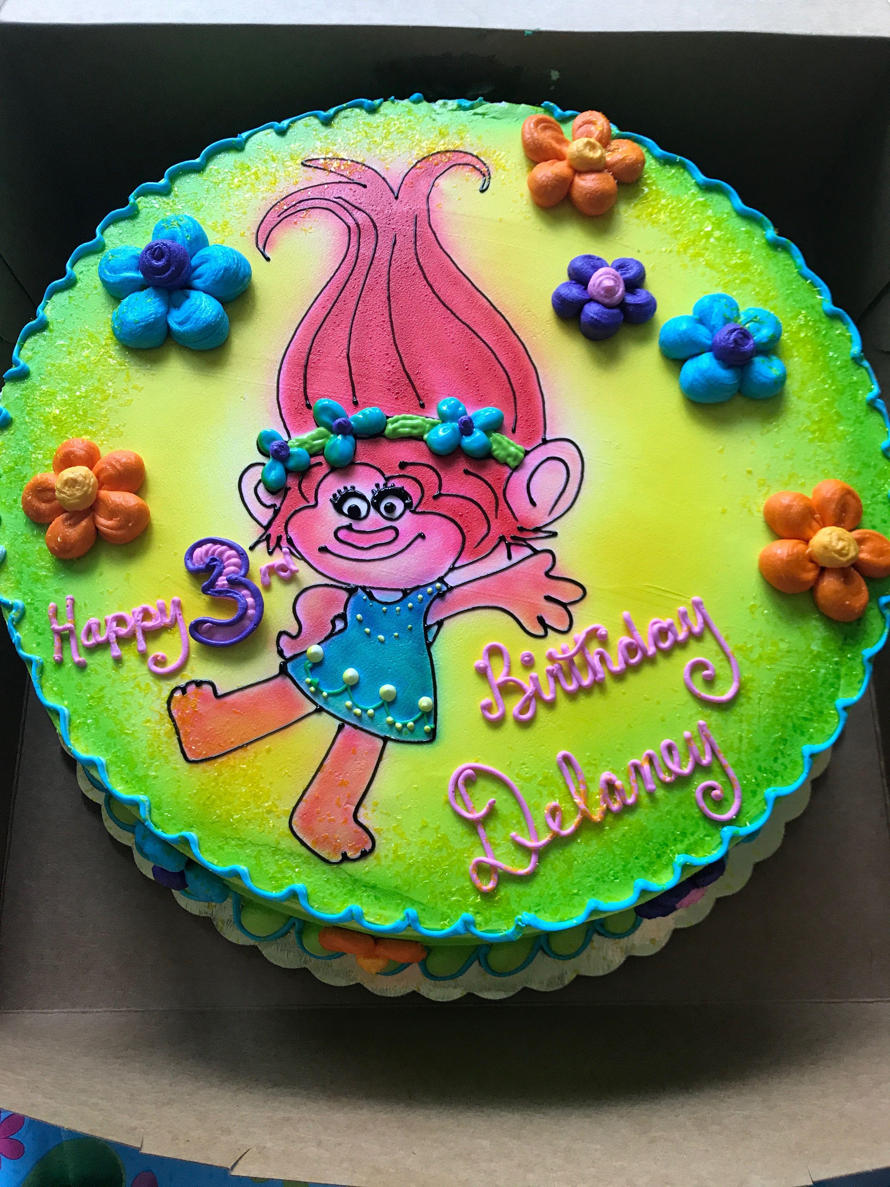 Poppy trolls birthday cake greggorys pastry shop hadley