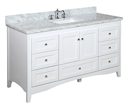 Abbey 60 Inch Single Bathroom Vanity Carrara White Includes Shaker Style Cabinet With Soft Close Drawers Doors Italian Marble Top And