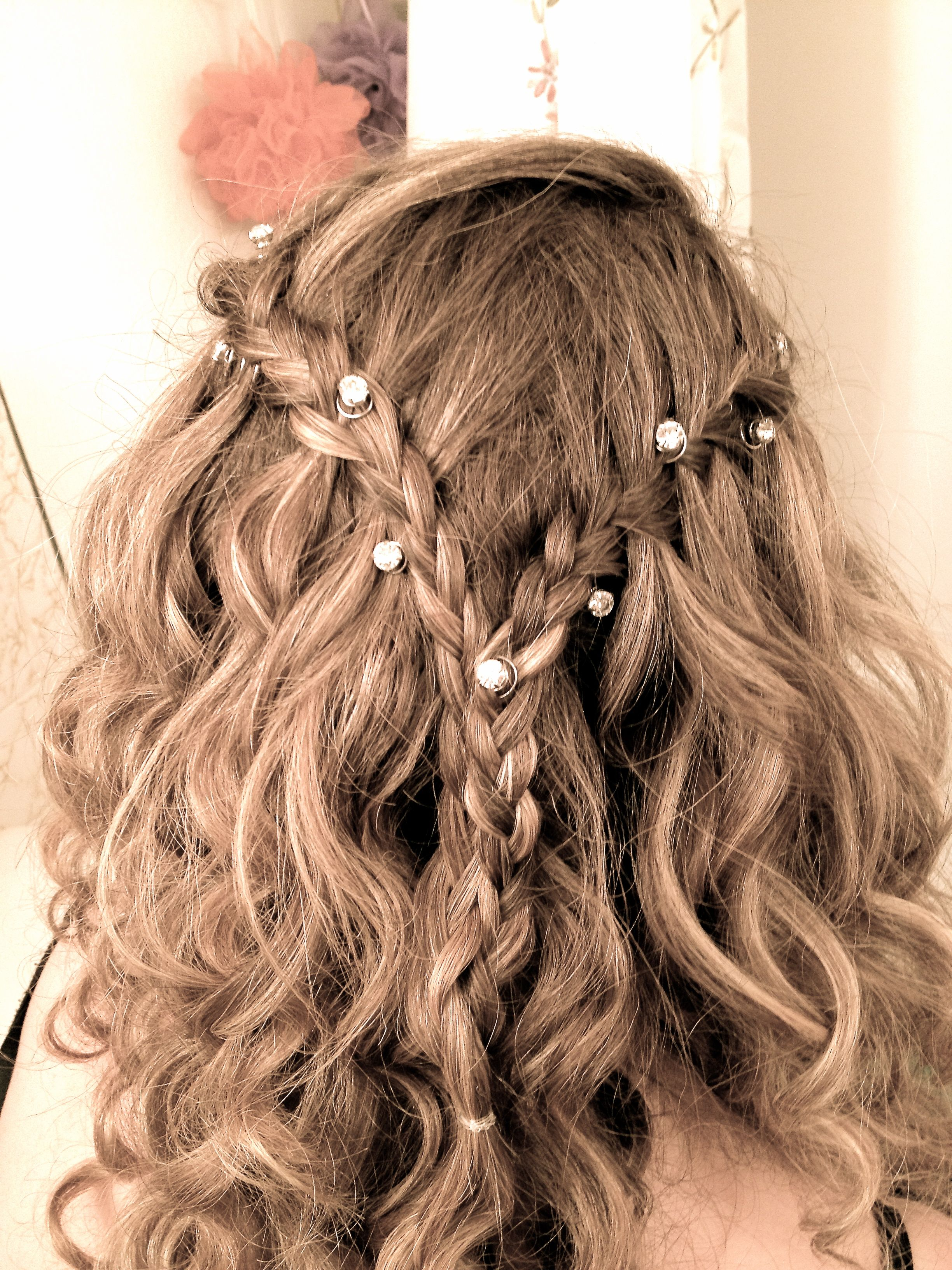 Waterfall Braid With Diamond Hair Pins Love Formal Wedding Prom