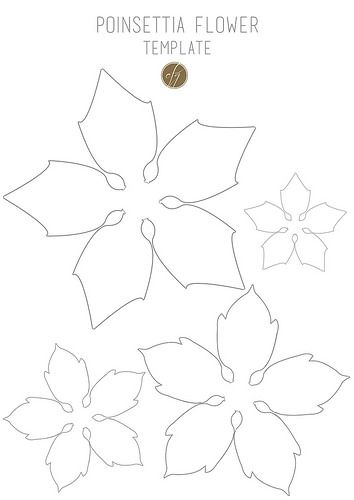 Diy Paper Poinsettia Free Template Poinsettia Flower Christmas Paper Flower Template
