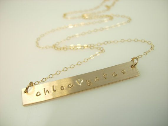 "Personalized gold necklace, 16, 18 & 20"". Want."