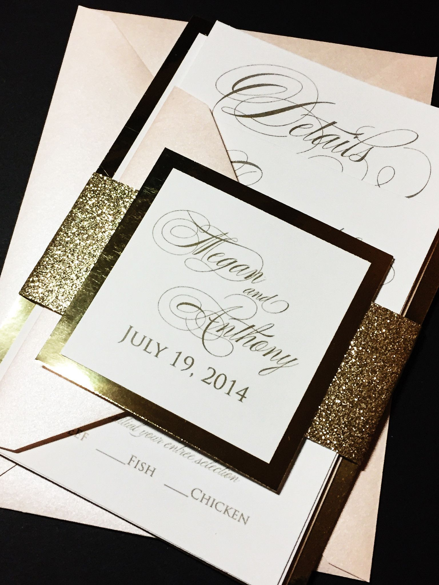 Gold Foil Wedding Invitation, Elegant Wedding Invitation - MEGAN ...
