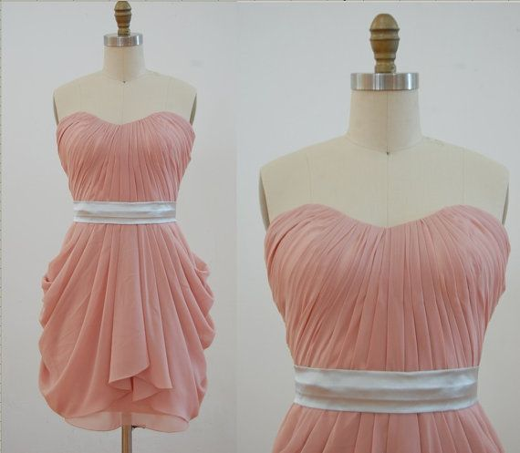 Dusty Rose Peach Chiffon Bridesmaid Dress Strapless by misdress