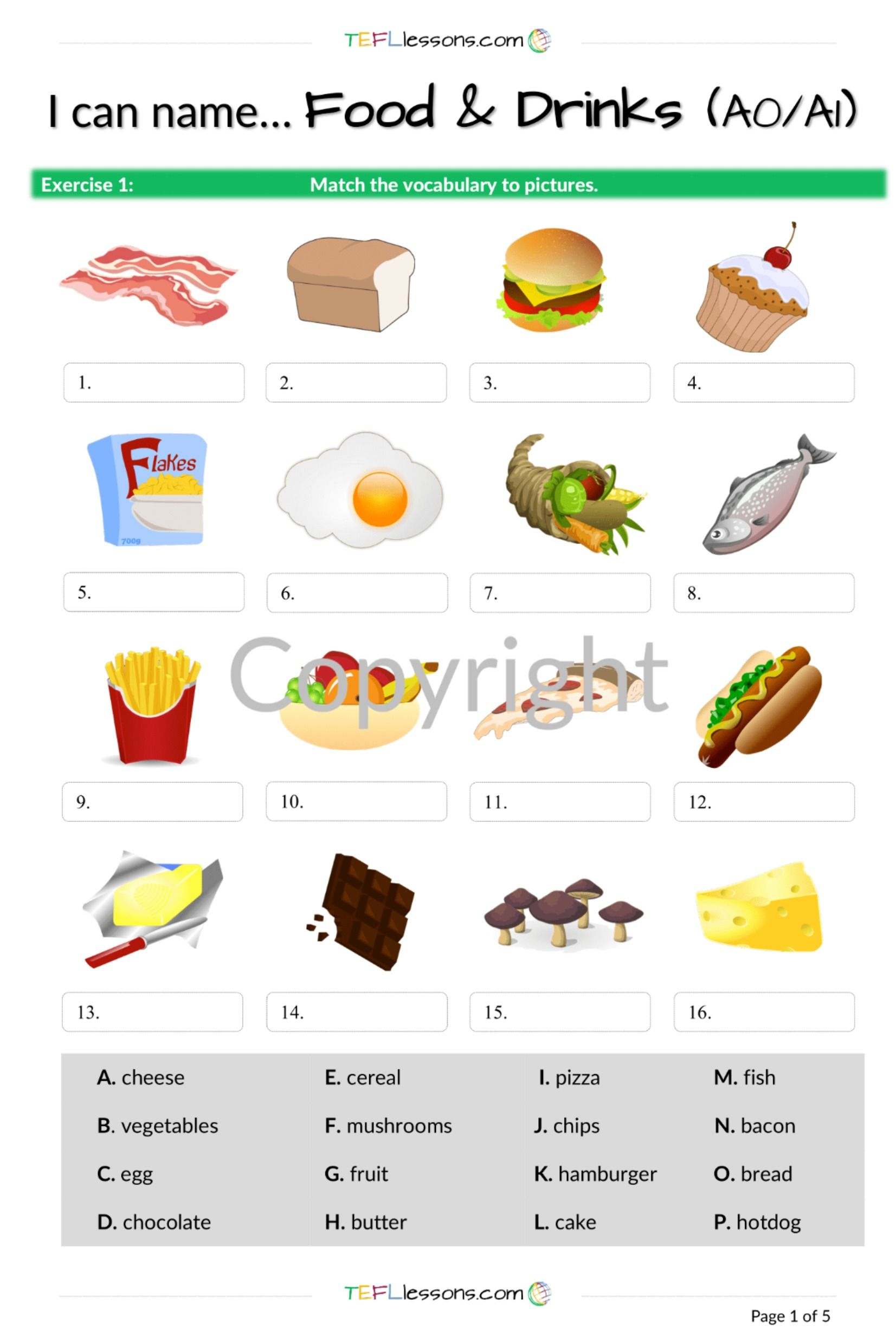 Food And Drink Vocabulary In