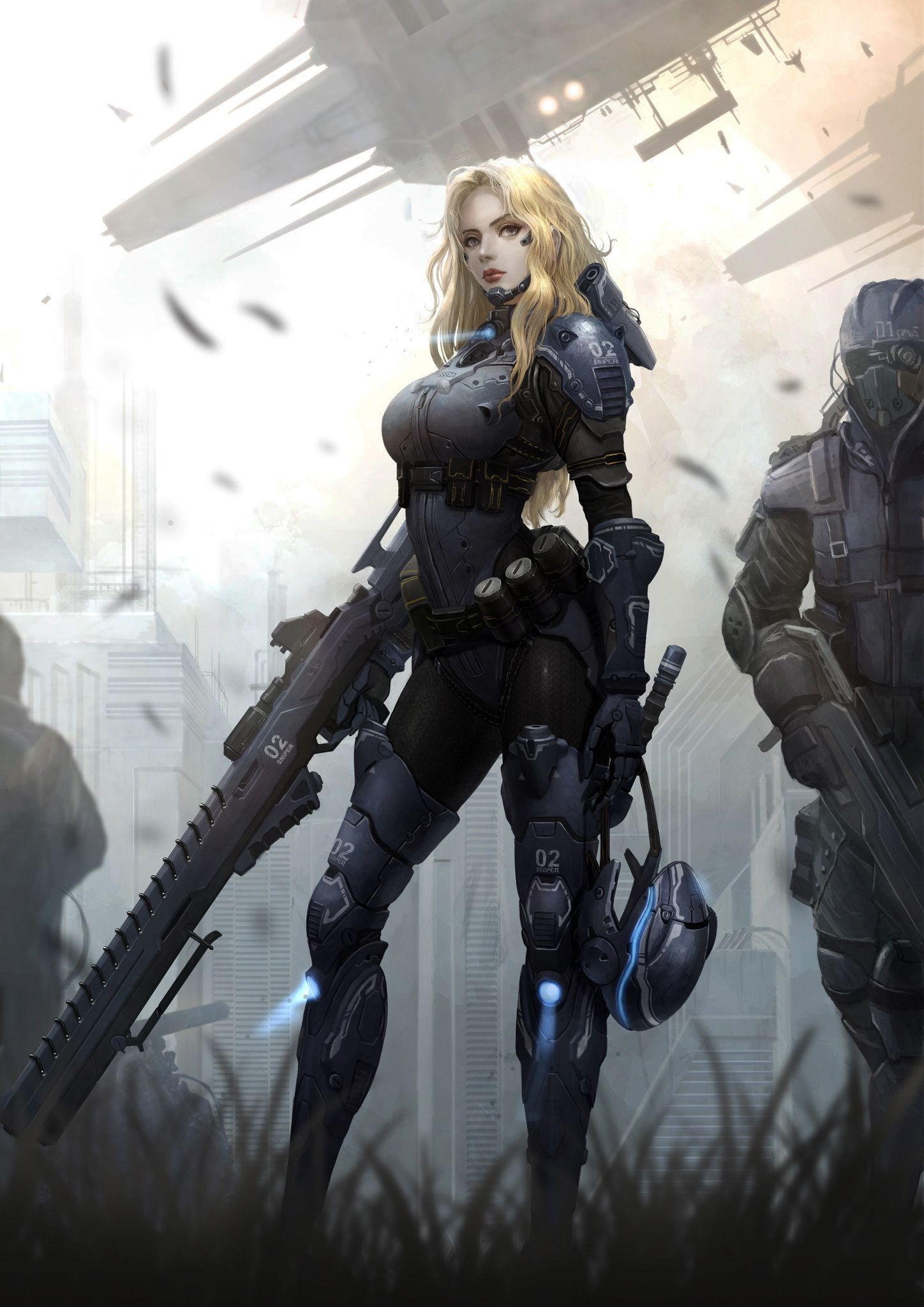 Yoon Lee Sniper Female Exhibition In Ndc Concept Art Characters Warrior Woman Sci Fi Characters